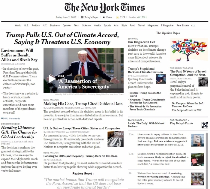 NYTimes front page Paris 6.2.17