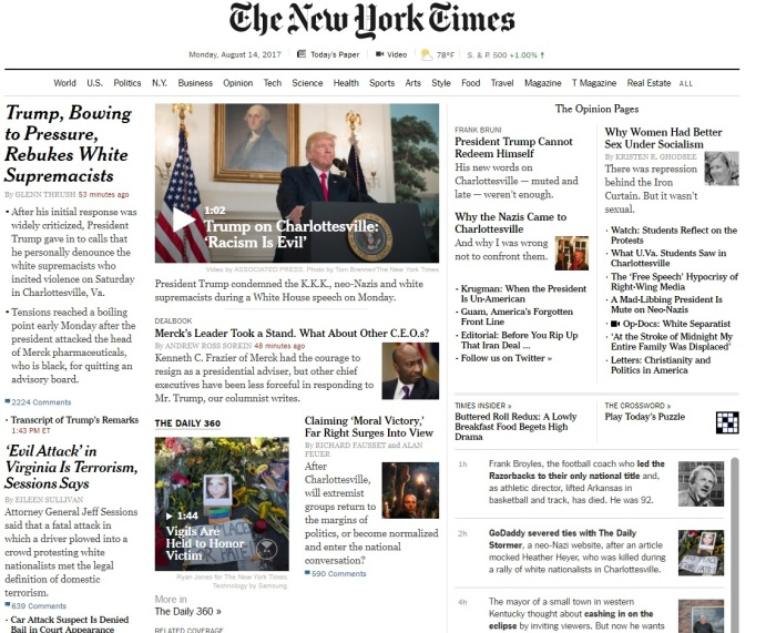 nytimes front page charlottesville Monday 8.14.17