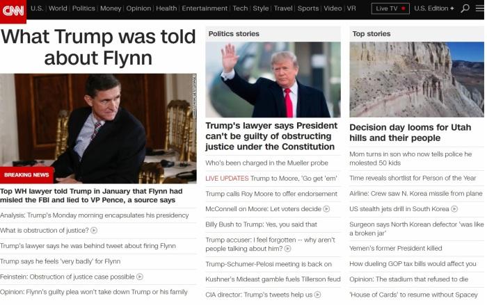 CNN front page Flynn no Tax Reform 12.4.17