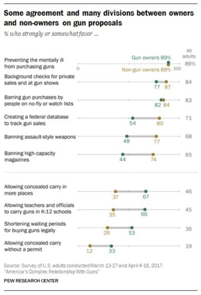 Gun survey Pew Research Center 2017